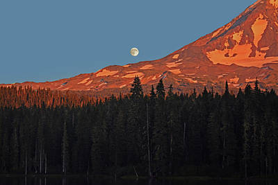 Photograph - Sunset And Sunrise At Mt Adams by Jack Moskovita