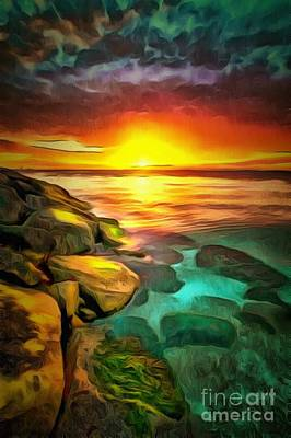 Royalty Free Images Painting - Sunset And Sunrise In Ambiance by Catherine Lott