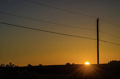 Art Print featuring the photograph Sunset And Telephone Post by Rob Huntley