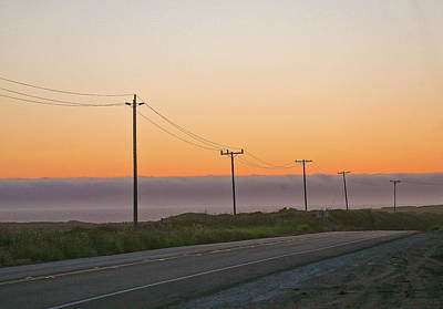 Sunset And Telephone Wires Art Print by Liz Santie