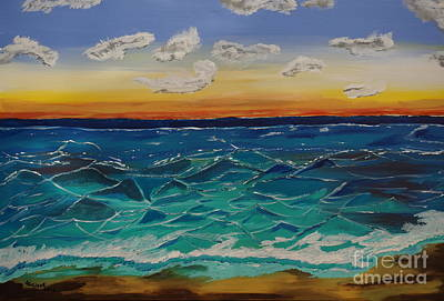 Painting - Sunset And Waves by Jimmy Clark