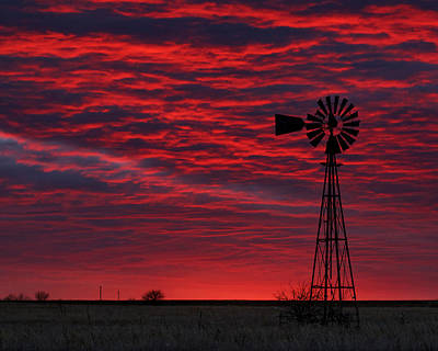 Photograph - Sunset And Windmill 01 by Rob Graham