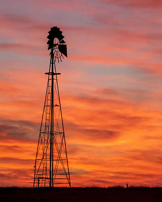 Photograph - Sunset And Windmill 03 by Rob Graham