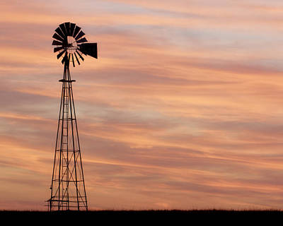 Sunset And Windmill 05 Art Print