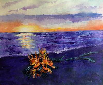Painting - Sunset, Angola On The Lake by Ellen Canfield