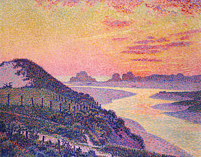 Purple Sunset Painting - Sunset At Ambleteuse Pas-de-calais by Theo van Rysselberghe
