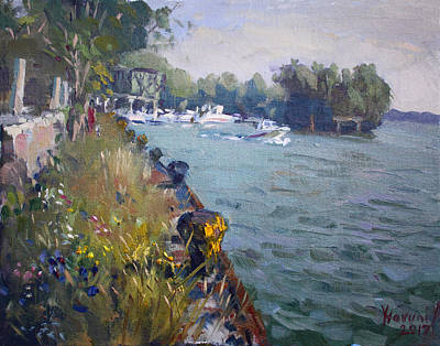 River Boat Painting - Sunset At An Abandoned Dock by Ylli Haruni