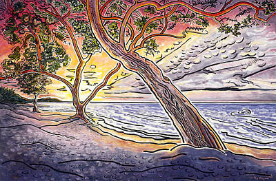 Edge Painting - Sunset At Anaehoomalu Bay by Fay Biegun - Printscapes