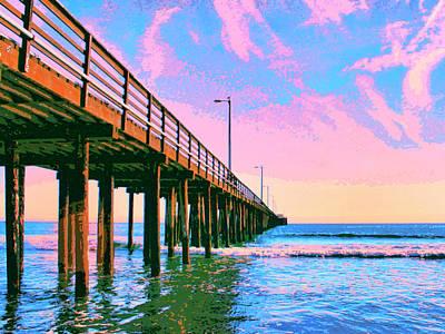 Ocean Sunset Mixed Media - Sunset At Avila Beach Pier by Dominic Piperata