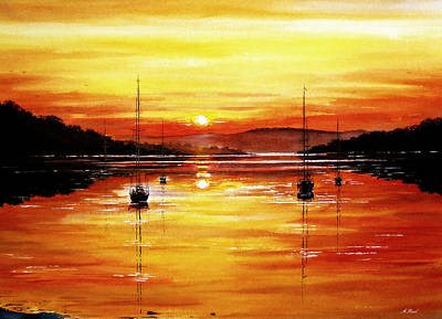 North Wales Painting - Sunset At Bala Lake by Andrew Read
