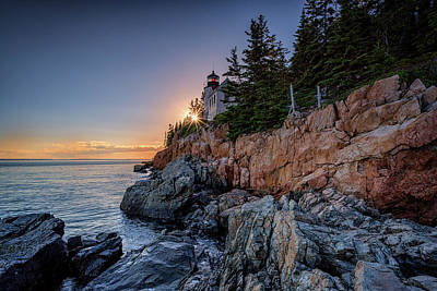 Photograph - Sunset At Bass Harbor Head Lighthouse by Rick Berk