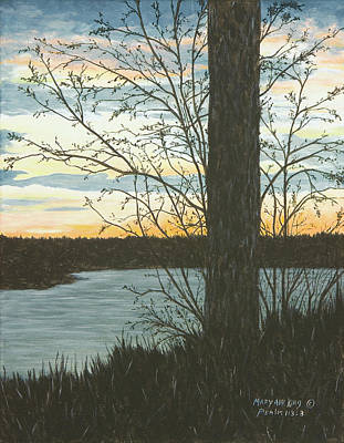 Painting - Sunset At Beaver Fork Lake by Mary Ann King