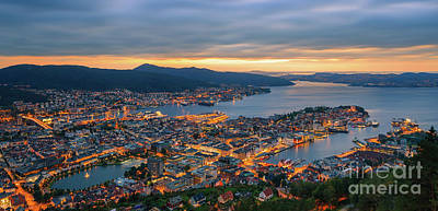Sunset At Bergen As Seen From Mount Floyen, Norway. Art Print by Henk Meijer Photography