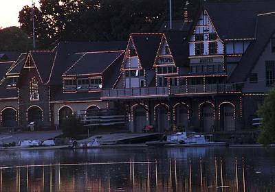 Sunset At Boat House Row Print by Kathleen Foy