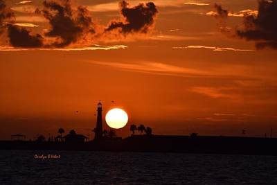 Wall Art - Photograph - Sunset At Bolivar Pennisula Lighthouse by Carolyn Hebert
