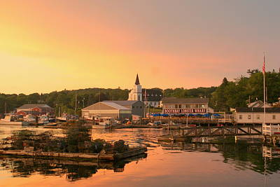 Sunset At Boothbay Harbor Art Print