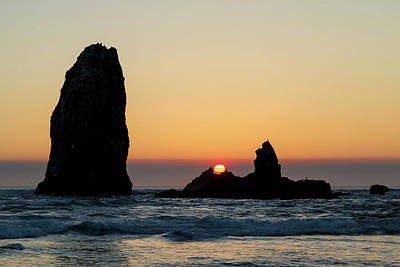 Outdoors Photograph - Sunset At Cannon Beach by David Gn
