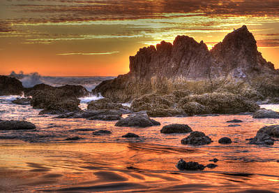 Surrealism Royalty-Free and Rights-Managed Images - Sunset at Cannon Beach by Marv Vandehey
