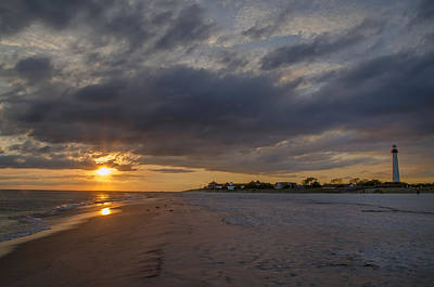Lighthouse Digital Art - Sunset At Cape May Lighthouse by Bill Cannon