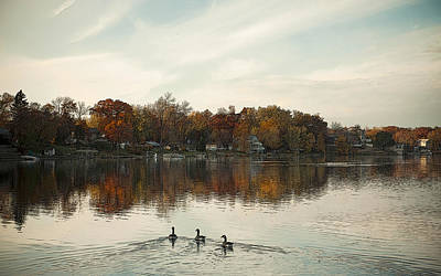 sunset at Channel Lake Art Print by Xiongwei Shen