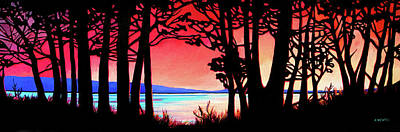 Wall Art - Painting - Sunset At Charlie Lake  by Alison Newth