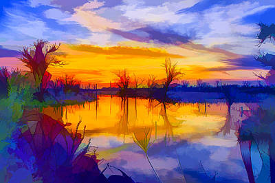 Park Scene Painting - Sunset At Coast Of The Lake by Lanjee Chee