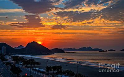 Digital Art - Sunset At Copacabana by Pravine Chester