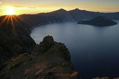 Photograph - Sunset At Crater Lake National Park, Oregon by Robert Mutch