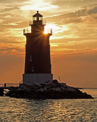 Art Print featuring the photograph Sunset At Delaware Breakwater Light by Robert Pilkington