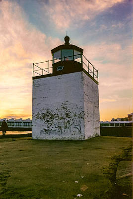 Photograph - Sunset At Derby Wharf Lighthouse In Salem Massachusetts by Brian MacLean