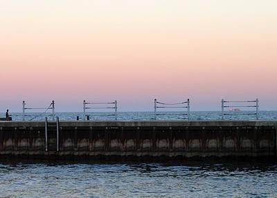 Sunset At Diversey Harbor Art Print