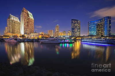 Sunset At Embarcadero Marina Park In San Diego Art Print