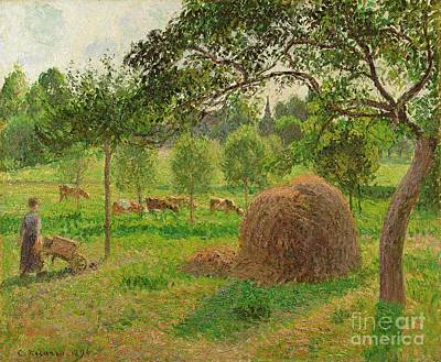 Sunset At Eragny Print by Camille Pissarro