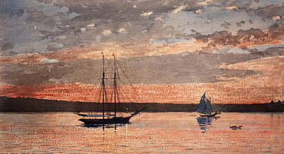 American Painters Painting - Sunset At Gloucester by Winslow Homer
