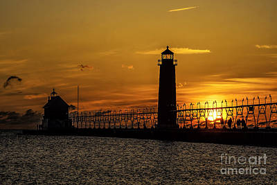Photograph - Sunset At Grand Haven Pier by Nick Zelinsky