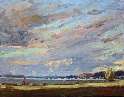 Sunset At Gratwick Waterfront Park Art Print by Ylli Haruni