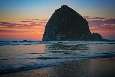 Sunset At Haystack Rock Art Print by Rick Berk