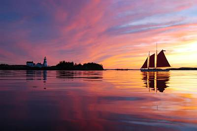 Sunset At Head Harbor Art Print by Don Dunbar