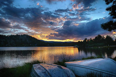 Photograph - Sunset At Hiawatha Lake by Monte Stevens