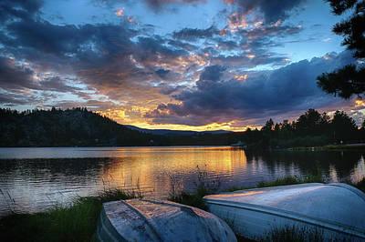 Photograph - Sunset At Hiawatha Lake by Monte Stevens