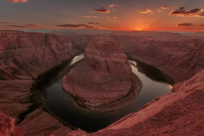 Art Print featuring the photograph Sunset At Horseshoe Bend by Susan Rissi Tregoning