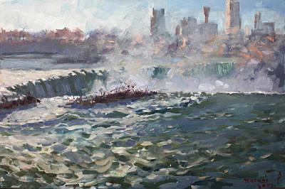 Horseshoe Painting - Sunset At Horseshoe Falls by Ylli Haruni