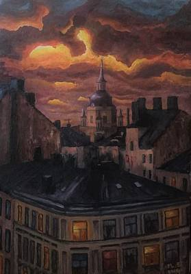 Painting - Sunset at Katarina Church, Stockholm by Mats Eriksson