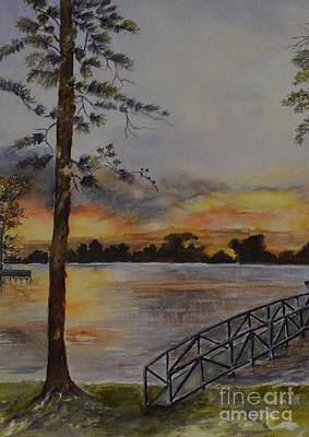 Painting - Sunset At Lake Norman by Madie Horne