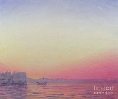 India Wall Art - Painting - Sunset At Lake Palace, Udaipur by Derek Hare