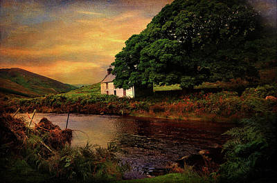 Abandoned House Photograph - Sunset At Lake. Rural Ireland. Wicklow by Jenny Rainbow