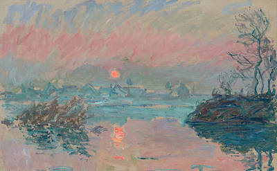 Reflecting Sunset Painting - Sunset At Lavacourt by Claude Monet