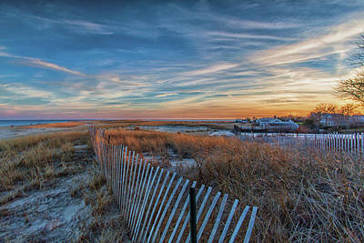 Sunset At Lighthouse Beach In Chatham Massachusetts Art Print