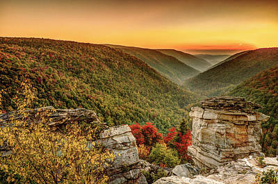 Lindy Point Sunset At Blackwater Falls State Park Art Print by Robert Powell