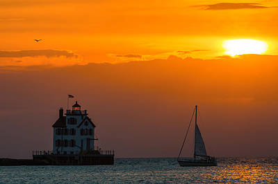 Photograph - Sunset At Lorain Lighthouse by Dale Kincaid